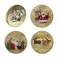 chiwanji 両面コイン 記念コイン 記念貨幣 硬貨 合金製 サンタクロース エルク 雪橇 クリスマス プレゼント