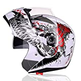 Ritafly システム ヘルメット 原付用 フリップアップ ヘルメット 通気 フェイスガードシート フルフェイスヘルメット チンガード オールシーズン用(H4-K,L(頭囲56~57cm))