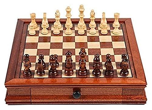Juego de ajedrez Juegos Viajes Adultos Niños Tablero Puzzle Juego de ajedrez Juego de ajedrez de Viaje magnético, Madera Maciza con ajedrez del cajón (Size : 31x31x6cm)