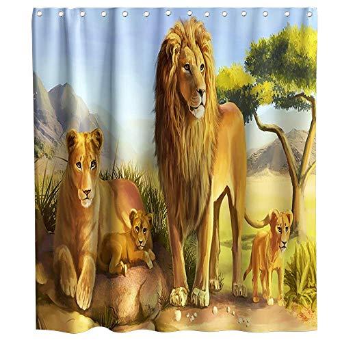 LRSJD Der König der Löwen Duschvorhang Afrikanische Tiere Löwe Paar Wald König Thema Stoff Badezimmer Home Decor Sets mit Haken Wasserdicht Waschbar 182,9 x 182,9 cm Grün Braun & Gelb