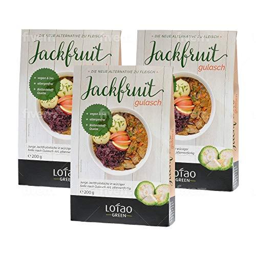 Lotao Jackfruit Gulasch Set Fleischersatz, nachhaltig, vegan & hochwertig | Bio Fleischalternative | Fertiggericht schnell und gesund | 3 x 200g