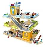 Garage En Bois, Parking à 3 Niveaux avec ascenseur et Voitures, Garage Véhicule Miniature plus 9...