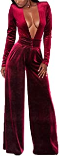 Women's Sexy Deep V Neck High Waist Loose Pants Velvet One Piece Rompers Jumpsuits Long Sleeve Juniors Outfits