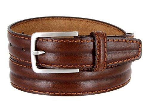 Made in Italy Oil-Tanned Italian Leather Dress Belt For Men (Light Brown, 34)