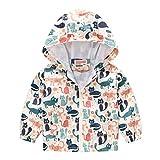 MRULIC Kinder Mädchen Jungen Floral Bedruckter Frühling mit Kapuze Licht Mantel Reißverschluss Jacke Tops Sonnenschutz Kleidung 1-6 Jahre(B-Weiß,110-120CM)