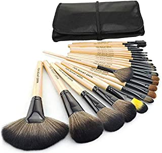Professional Wooden Handle Make up Brushes 24pcs with Folding PU Leather Bag - Beige