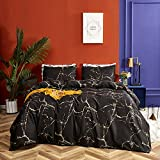 Wellboo Black Marble Duvet Cover Black and Gold Yellow Bedding Cover Twin Orange Cotton Women Men Adult Cover Modern Abstract Chic Texture Bedding Teen Boys Gothic Impressionist Soft Durable No Insert