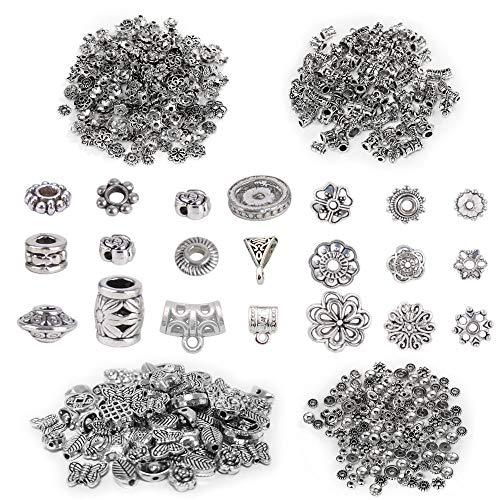 Nsiwem Tibetischen Legierung Anhänger Zubehör Zwischenperlen Metall Bead Spacer Metallperlen Perlen für Auffädeln DIY Schmuck 4 Stile 200g Antikes Silber