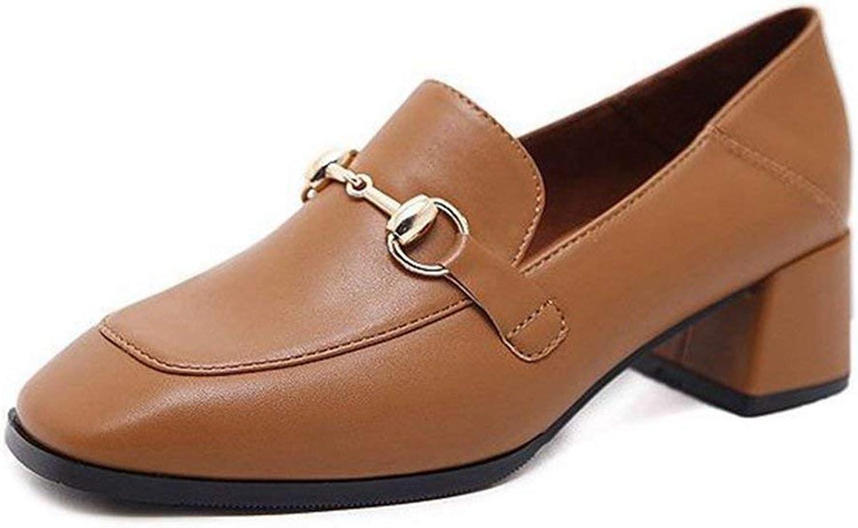 Elsa Wilcox Women Buckle Slip-On Square Toe Block Heel Dress Loafer Oxford Pump Classic Penny Loafers Pumps