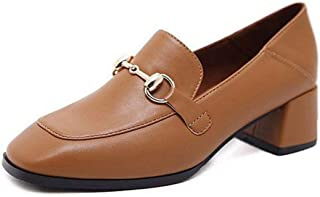 Veveca Women Buckle Slip-On Square Toe Block Heel Dress Loafer Oxford Pump Classic Penny Loafers Pumps
