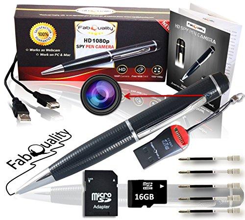 FabQuality 1080p. Penna con videocamera nascosta, scheda SD da 16 GB, Real di Video HD, Audio Image aggiornato Batteria & 5, da riempire con inchiostro e multifunzione DVR.-Regalo perfetto