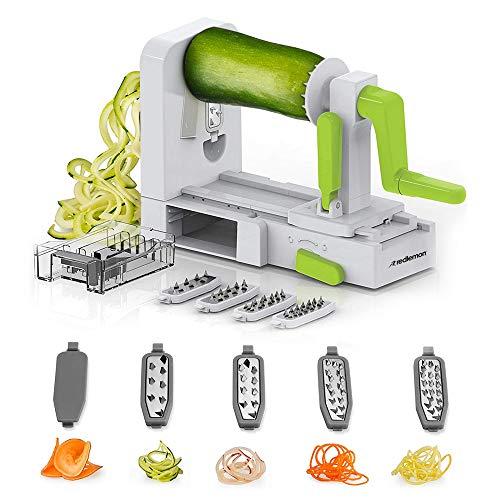 Redlemon Cortador y Rallador de Verduras tipo Espiralizador con 5 Cuchillas de Acero Inoxidable, Ventosa Adherente, Mecanismo Seguro, Libre de BPA. Ideal para Pastas, Ensaladas y...