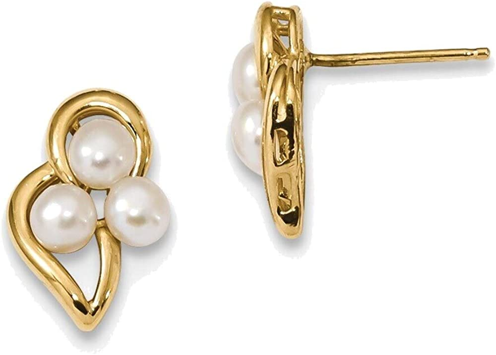 3-4mm White Button Freshwater Cultured Pearl Post Earrings in 14K Yellow Gold