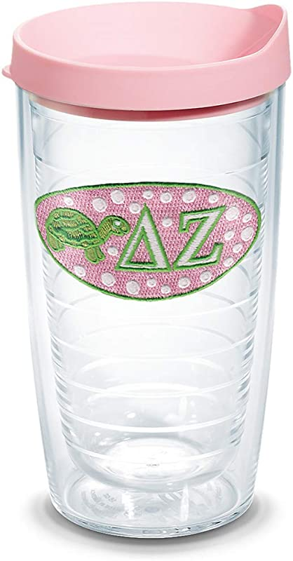 Tervis 1076411 Sorority Delta Zeta Tumbler With Emblem And Pink Lid 16oz Clear