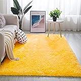 Geling Shaggy Alfombra para El Salón, Modernas Antideslizante Super Suave Shaggy alfombras de Pelo Largo alfombras Salon alfombras de habitacion moquetas Sala de Estar,Amarillo,160 * 230cm