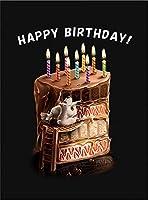 【FOX REPUBLIC】【チョコレートケーキ・誕生日・犬・イヌ】 黒光沢紙(フレーム無し)A4サイズ