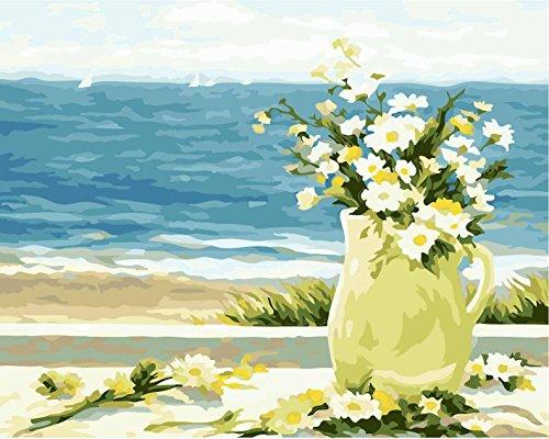 Fuumuui DIY Malen Nach Zahlen-Vorgedruckt Leinwand-Ölgemälde Geschenk für Erwachsene Kinder Kits Home Haus Dekor - Küsten Gänseblümchen 40*50 cm