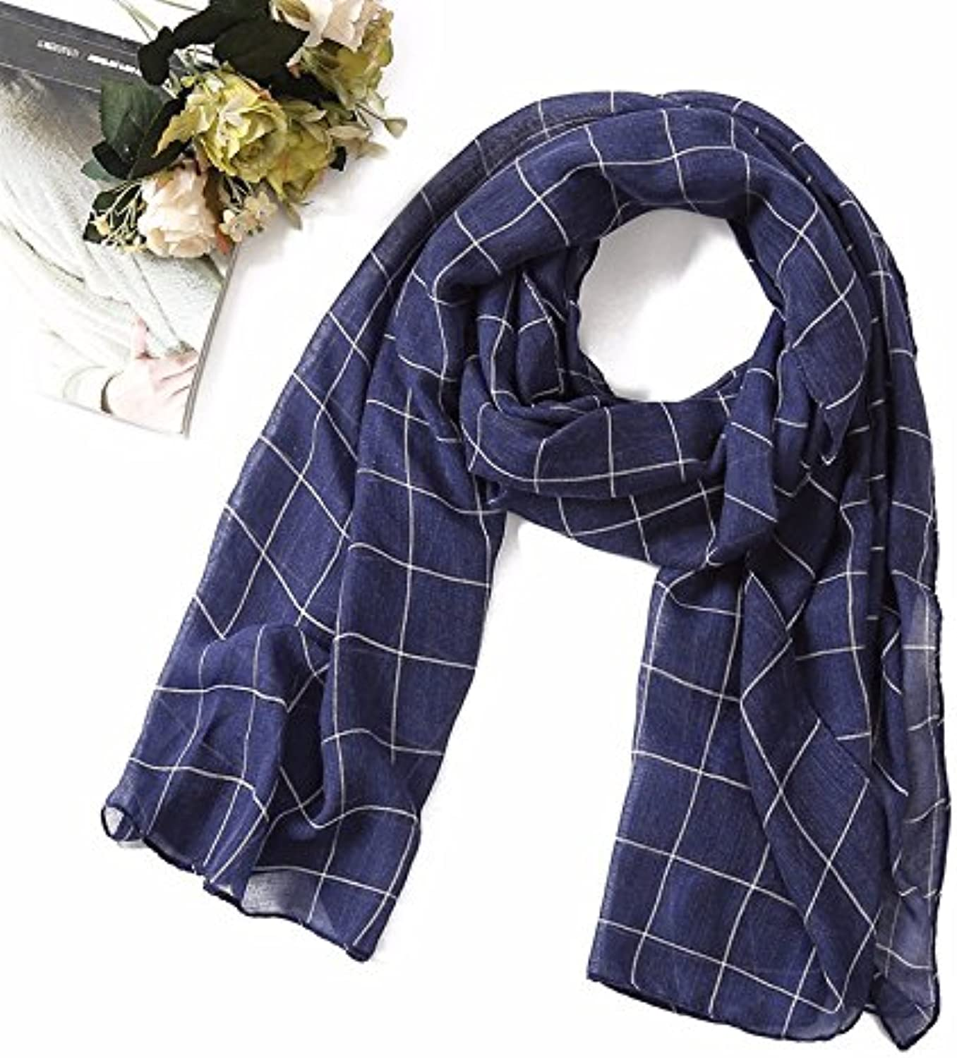 Ahuiopl New Spring Women Scarf Fashion Plaid Cotton Scarves Shawls and Wraps Soft Large Size Lady Scarves Foulard Hijabs