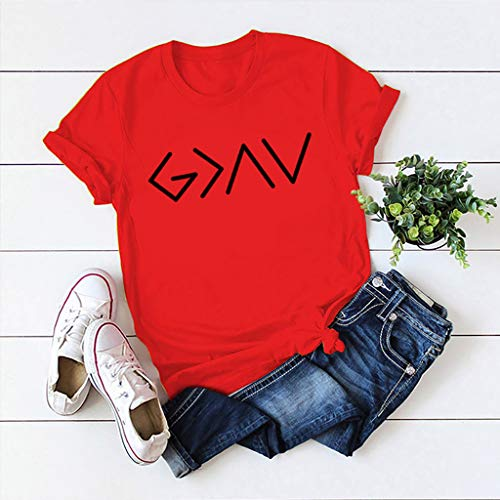 Janly Clearance Sale Blusa casual para mujer, de moda, informal, de manga corta, con cuello redondo, para verano (rojo/L)