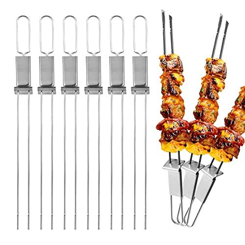 Dailyart Grillspieße, Grill Spieße Edelstahl Doppel Kebab Metall Fleischspieße mit Slider Spieße wiederverwendbar BBQ Schaschlikspiess Set (6PC)