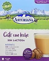 Central Lechera Asturiana Cápsulas de Café con Leche sin Lactosa, 4 x 16 cápsulas
