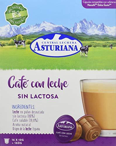 Central Lechera Asturiana Cápsulas de Café con Leche Sin Lactosa - Compatibles con Dolce Gusto - 4 Paquetes de 16 Cápsulas