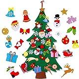 FengRise Árbol de Navidad de Fieltro Plano - 4 pies DIY Árbol de decoración navideña no Tejido con 25 Piezas de muñeco de Nieve Desmontable Adornos navideños Decoración del hogar para niños