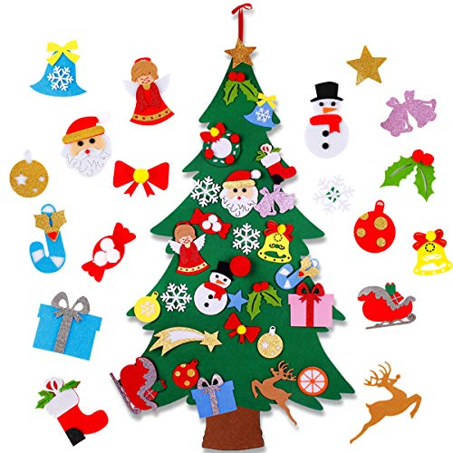 Flat Felt Christmas Tree - 4ft DIY Non-woven Christmas Decorations Tree with 25Pcs Detachable Snowman Candy Christmas Ornaments Wall Decor for Kids Xmas Gifts,Home Door Window Christmas Decoration Kit