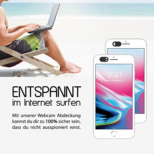 3x innoGadgets Webcam Abdeckung | Laptop Webcam Cover | Anti-Spionage Schutz, Kamera Sticker | Ultra dünnes Design | Starker Halt mit 3M-Tape | Schwarz