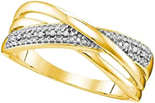 GemApex Diamond Accent Fashion Band Solid 10k Yellow Gold Ring Crossover Style X Round Illusion Set Fancy .02 ctw