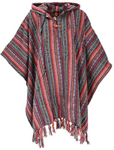 GURU SHOP Poncho Hippie Chic, Ethno Poncho, Andenponcho, Herren/Damen, Orange/grün, Baumwolle, Size:One Size, Jacken, Strickjacken, Ponchos Alternative Bekleidung