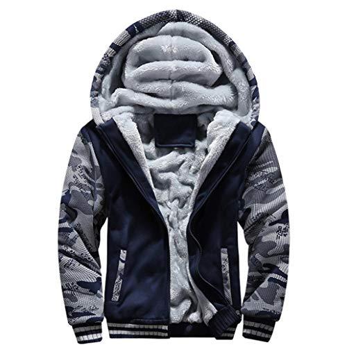 TIFIY Herren Winter Warm Fleece Hood Kapuzenmantel Distressed Pullover Jacke Pullover Outwear Heißer Mantel M-4XL