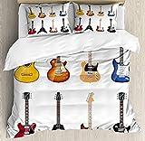Juego de funda de edredón para guitarra, amplia variedad de instrumentos de cuerda, diseño musical realista, jazz bluescoustic, juego de cama decorativo de 3 piezas con 2 almohadas, color marrón negro