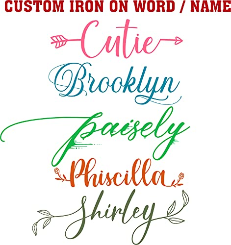 Personalized Name or Word -Custom Vinyl Iron On Decal Choose Your...