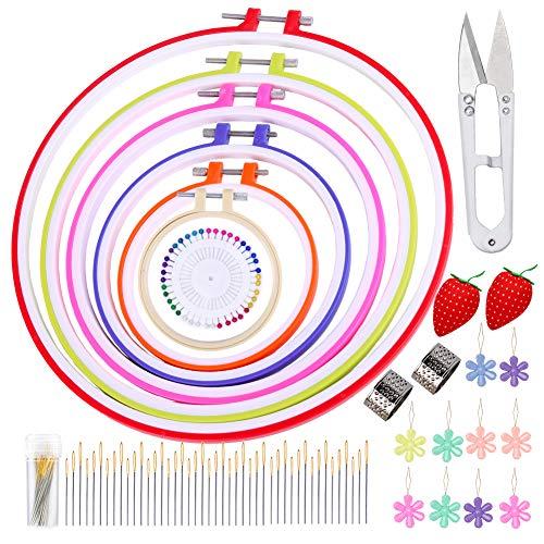 刺繍枠 刺繍フープセット 刺繍キット 7枚 カラー プラスチック 刺しゅう枠 45本 刺繍ニードル 10枚 糸通し 待ち針 刺繍ツールセット刺繍ばり ハンドクラフト 裁縫セット