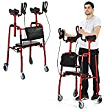 Goplus Upright Walker, Heavy Duty Stand Up Folding Rollator Walker with Seat and Wheels, Padded Armrests Standard Walker, Height Adjustable Rolling Mobility Walking Aid for Seniors and Adults (Red)