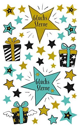 Avery Zweckform 39 Deko Sticker Glücksterne (Aufkleber, Sterne, Geschenke, Karten, Geburtstag, Glückwünsche) Art. 57073