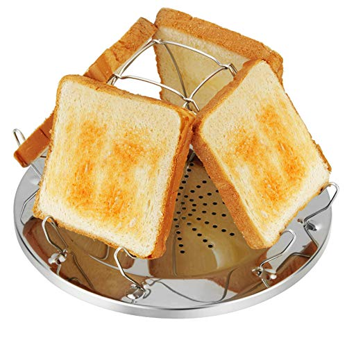 4YANG Edelstahl Toastregal Camping Toaster mit faltbarem Ständer Poröses Tablett Brot Toaster für Familien Outdoor Gasherd Kocher Picknick Faltbares Brot Toastregal