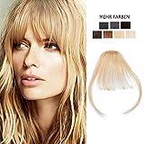 Frange a Clip Blond Cheveux Naturel Fausse Frange Pas Cher [Frange:5'(12cm)+ Tempe:8'(20cm)] - 613#Blond Blanchi Pose & Dépose Facile