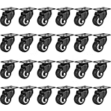 Online Best Service 24 Pack Swivel 2' Caster Wheels Rubber Base with Top Plate & Bearing Heavy Duty (24 Pack Without Brake)