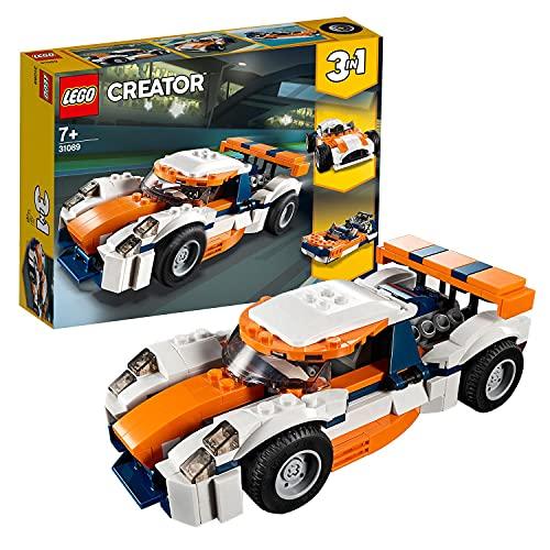 LEGO 31089 Creator 3en1 Deportivo de Competición Sunset o Coche de Carreras o Lancha, Juguete de Construcción para Niños +7 años