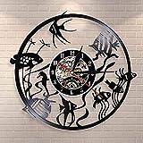 Reloj de Pared con Disco de Vinilo, decoración Sencilla para el hogar, diseño Moderno, Reloj de Pared con Peces de Colores, Reloj de Pared Retro, decoración del Acuario