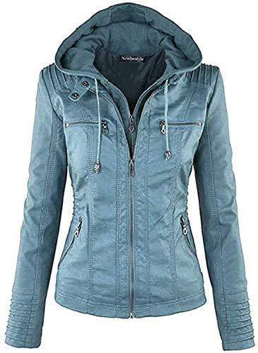 Newbestyle Jacke Damen Lederjacke Frauen mit Zip V Ausschnitt Kunstleder Bikerjacke Jacket Casual Übergangsjacke (Normale EU-Größe), Himmelblau, L/42