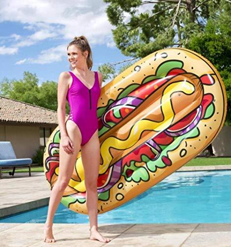 MSFX Hot Dog Malerei Aufblasbar Schwimmring Sommer Draussen Schwimmende Reihe Schwimmendes Bett Tragbar Kids Adults Pool Schwimmen Verschleißfest Strandmatte Schwimmbadespielzeug