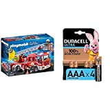 Playmobil - City Action Camión de Bomberos con Escalera, Luces y Sonido, a Partir de 5 Años (9463) + Duracell Ultra AAA con Powerchek, Pilas Alcalinas , Paquete de 4, 1,5 Voltios LR03 MX2400