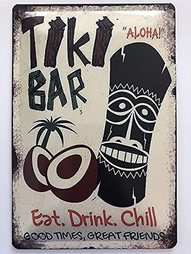 Cartel de metal, 20 x 30 cm, diseño de The Tiki Bar Hawaii Cocktails Aloha Drink Chill Vintage Retro