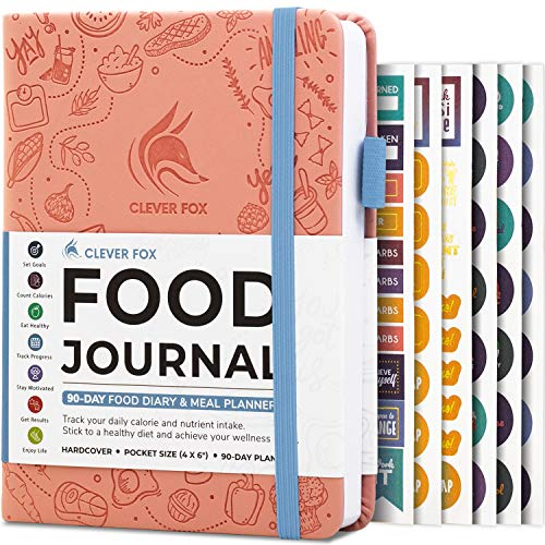 Clever Fox Food Journal Pocket Size - Daily Food Diary, Meal Tracker & Planner for Purse, Calorie and Nutrition Log, for Sticking to a Healthy Diet & Achieving Weight Loss Goals, 4.0x5.5 - Light Blue
