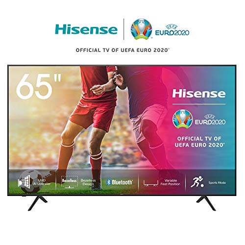 Hisense 65AE7000F 164 cm (65 Zoll) Fernseher (4K Ultra HD, HDR, Triple Tuner DVB-C/S/S2/T/T2, Smart-TV,Frameless, Bluetooth,Alexa, verstellbare Standfüße)