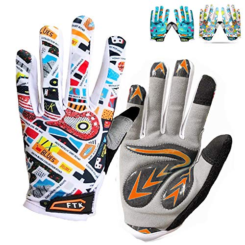 Kids Full Finger Cycling Gloves Gel Boys Girls Pair Bike Riding Mountain Rode Bicycle Glove, Non-Slip Touch Screen Gel Padded Gift for Youth Running Sporting Fishing Hunting Training (Orange, Medium)