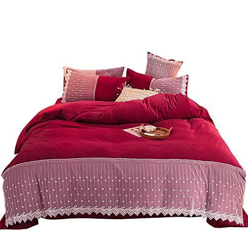 SWEET Parure de lit Adulte, Parure de lit 220X240 Adulte Flanelle Flanelle Housse de Couette Housse de Couette Rouge Gris Parure de Lit 2 Personnes Hiver Flanelle 4pcs avec 2 Taies